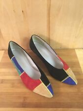 Women's Career Image Low Heel Multi-Color Vintage Shoes Red Green Blue Size 8.5