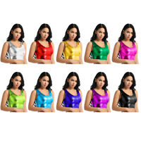 Sexy Women Shiny Crop Top Metallic Tank Top Bustier Vest Blouse Shirt Club Wear