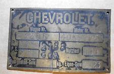 Typenschild ID-plate schild oldtimer Chevrolet Chevy plaque du constructeur 1920