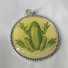 Costume Jewelry Frog Photo Cabochon Glass Tibet Silver Pendant 1.5 Round