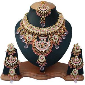 Gold Plated Kundan Zirconic Bollywood Necklace Earring Tikka Jewelry Set ES11-