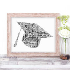 Personalised GRADUATION HAT Word Art Print Gift For Graduate Congratualtions