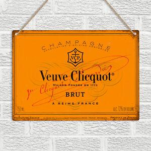 Veuve Clicquot Brut Champagne Metal Wall Sign Plaque Retro Bar Pub Home kitchen