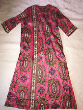 Vintage 70s pink wrap Dress size 16 Diana Dean by Julius Lonschein Hostess dress