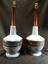PAIR VINTAGE  MCM 50s 60s BLUE GOLD CERAMIC AND WALNUT 2 LAMPS WITH TEXTILE WRAP