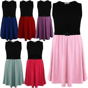 Kids Girls Skater Dress Contrast Panel Summer Party Fashion Dresses 5-13 Years