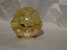 6 Agra Marble Ghoppi Tan Inlayed Flowers Coasters w Stand Mother of Perl