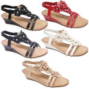 LADIES GLADIATOR SHOES WOMENS WEDGE STRAPY DIAMANTE FLOWER SUMMER EVENING SANDAL