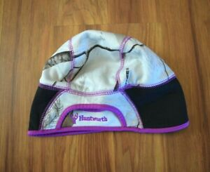 Womens Huntworth Tango Beanie Hat with Ponytail Hole White Realtree Camo Purple