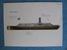 Civil War Confederate Warship Print - CSS VIRGINIA  (MERRIMACK) - SEE MY MONITOR