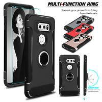 For LG V35 ThinQ/V30/V30+ Plus Ring Holder Kickstand Case Cover+Screen Protector