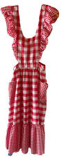 Vintage Long Full Bib Apron Red & White Gingham Check Country Rockabilly Chic