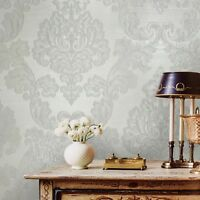 Wallpaper white gray Textured Victorian Vintage Damask wall coverings rolls 3D