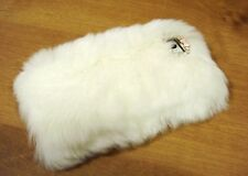 Clear Bling Crystallised Gem White Fur Fluffy Hard Back Case Cover Skin iPhone 4