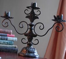 "CANDLE HOLDER OIL RUBBED BRONZE FINISH CAST METAL 3 LIGHT TAPER CANDELABRA 12"" L"