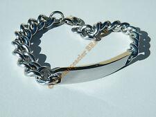Bracelet 20 cm Argenté Acier Inoxydable Maille Gourmette 10 mm Plaque à Graver