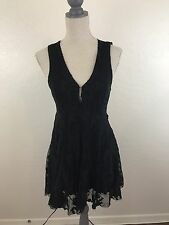 Free People Black Lace Dress Raw Hem Flare Embroidered Sz 2