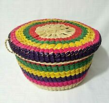 "9"" Corn Husk Woven Basket with Lid Bright Multi Color"