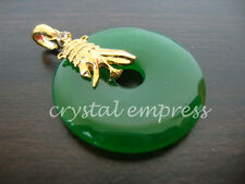 FENG SHUI - JADE DISC PENDANT WITH VICTORY BANNER (GOLD PLATED)