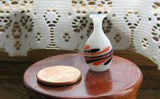 Miniature Dollhouse Glass Vase White w/ Orange & Black Swirls