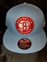 NEW ERA 9 FIFTY NBA BROOKLYN NEW YORK NETS SKY SNAPBACK HAT LIGHT BLUE NEW