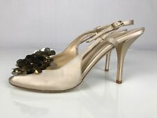 Kate Spade New York Open Toe Slingback Heels Italy Cream Women's Size 7.5 B