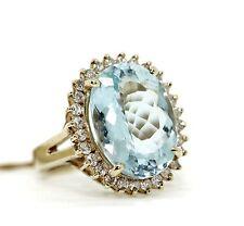 Vintage Antique 14K Yellow Gold Blue Aquamarine Diamond Ring Size 7.5 Size 7 1/2