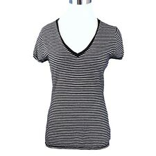 GAP Sweater Womens S Black White Striped Cotton Cashmere Blend SS V-Neck