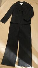 Doncaster Signature Pant Suit black white pinstripe fitted lined ribbon detail