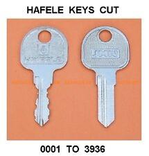Hafele keys cut to code filing cabinet / desk drawer / pedestal lock / cupboard