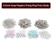 9.5mm Snap Poppers Prong Press Studs Brass Ring Button Fastners 4 Colours 100pcs