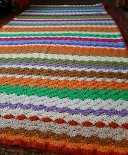"Vintage Handmade Crochet Multi Color Striped Afghan Throw Blanket 74"" x 42"""