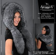 Real Silver Grey Blue Frost Fox Fur Hat Eskimo Eskimoska with 2 detachable tails
