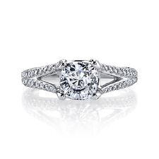 Gorgeous 14K WG 2.27 Ct Cushion Cut Diamond Split Shank Engagement Ring I,IF GIA