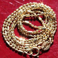"10k yellow gold faceted bead link necklace 20.0"" chain vintage handmade 2.3gr"