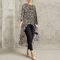 Women Long Plus Size Low Waterfall Blouse Shirt High Sleeve Asymmetrical Tops US