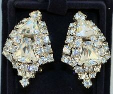 Vintage 1940s GORGEOUS Rhinestone Clip Earrings * Quality Statement Jewelry*