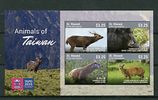 St Vincent & Grenadines 2015 MNH Animals of Taiwan 4v M/S Bears Otters Stamps