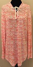 Joe Boxer Womens Sleepshirt Sz 2X White Red Ikat Print Long Sleeve Hood Stretch