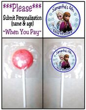 24 Frozen Birthday Party Or Baby Shower Lollipop Stickers Anna Elsa Olaf