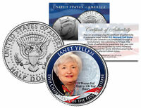 JANET YELLEN First Woman *Federal Reserve Bank JFK Half Dollar US Colorized Coin