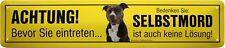 Achtung! American Stafford Terrier Hund Straßenschild Blechschild 46x10 cm STR93