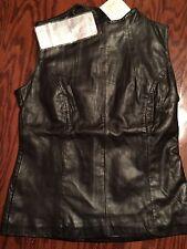 Gorgeous APART IMPRESSIONS Genuine Black Leather Vest Back Zip  Size 6 Must Have