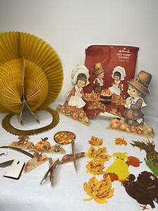Vintage Halloween Fall Autumn Thanksgiving Window Clings Paper Centerpiece Lot