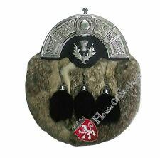 Men's Full Dress Leather Kilt Sporran Grey Rabbit Fur Celtic Cantle Chrome Chain