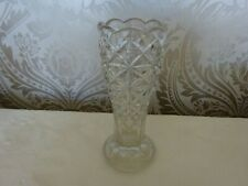 Vintage Retro Patterned Glass Footed Vase 22cm Tall