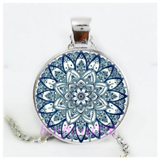 Mandala Photo Cabochon Glass Silver/Black/Bronze Chain Pendant Necklace#12