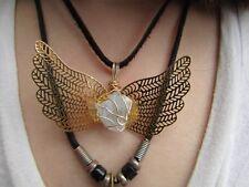 Angel wing Pendant- Celestite- Gold tone