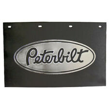 "Peterbilt Motors Trucks 24"" x 15"" Black & Silver Poly Semi Truck Mud Flaps-Pair"