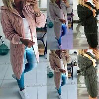 Womens Ladies Chunky Cable Knitted Oversized Longline Hooded Cardigan Cape Top